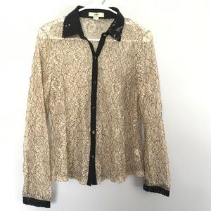ISSI lace button down blouse sheer top cream black